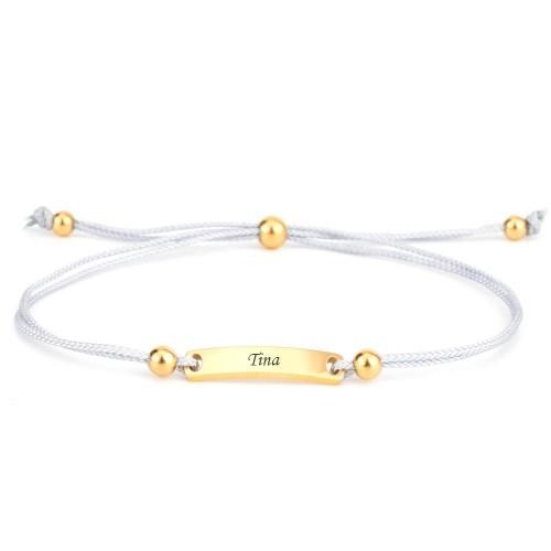 Armband Verona grau mit eckigem Gravurplättchen in Gold