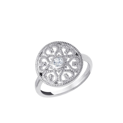 Ring Ornament mit Zirkonia - 925 Sterlingsilber