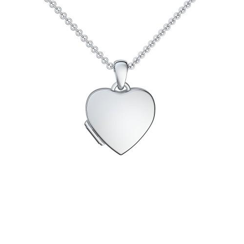 Herzkette Medaillon Silber 925 Kette Herzanhänger - Herz Amulett - Smooth Heart AMOONIC