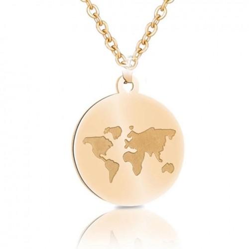 Welt Collier mit Gravur gold
