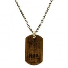 Dog Tag Halskette Rox used - Braun