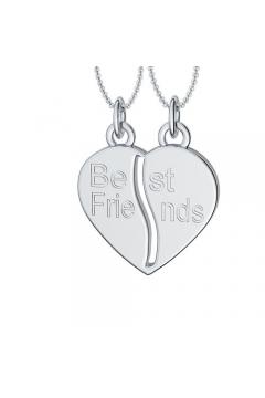 teilbare Herzkette Silber - Friendly Hearty Partnerkette, BFF Kette, Best Friends