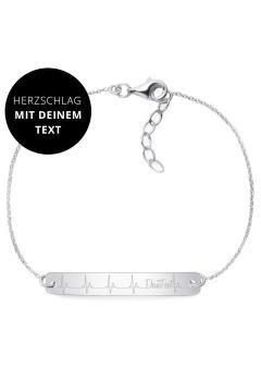 "Armband Herzschlag ""Mit Deinem Text"" - 925 Sterlingsilber"