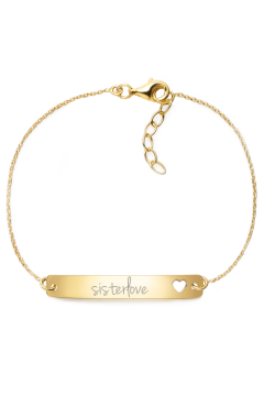 "Armband mit Gravur ""sisterlove"" - 925 Sterlingsilber | Rückseite individuell gravierbar"