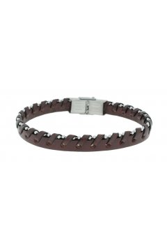 Herrenarmband -Clochard Fashion- 20cm ball chain leather maron