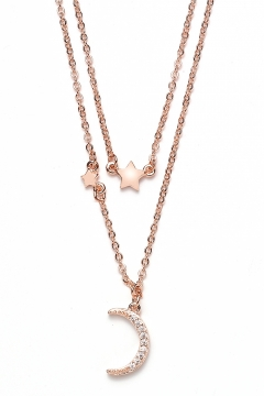 Mond und Sterne Halskette - 925 Sterlingsilber