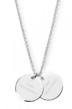 Halskette Twin Plate mit Wunschgravur - 925 Sterlingsilber