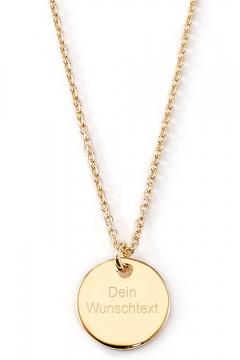 Gravierbare Halskette mit runder Platte - 14K Echtgold