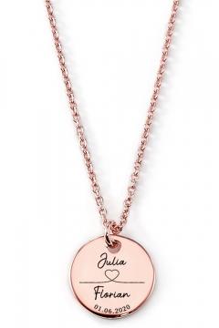 Gravierbare Halskette Herzlinie mit rundem Anhänger