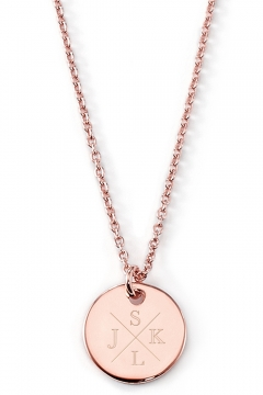 Gravierbare Halskette Monogramm mit rundem Anhänger