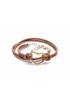 Heart - 925 Sterlingsilber-Gelbgold vergoldet-Braun