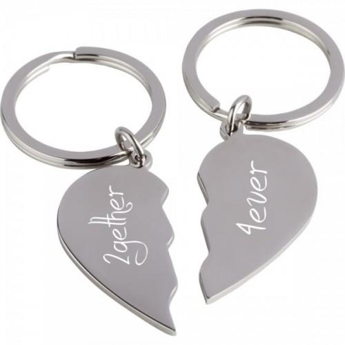 Schlüsselanhänger mit Gravur geteilte Herzen
