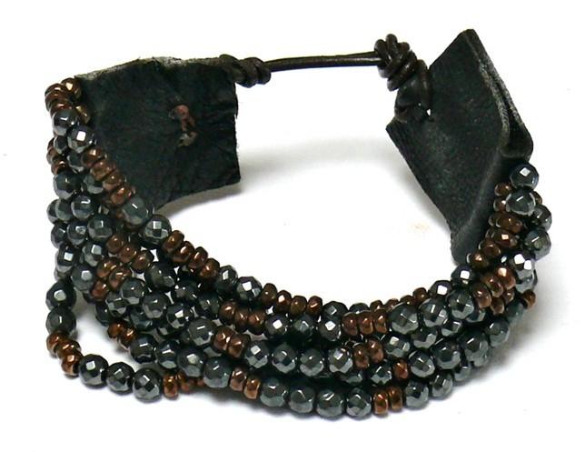 Armband – Hämatit & weiches Leder