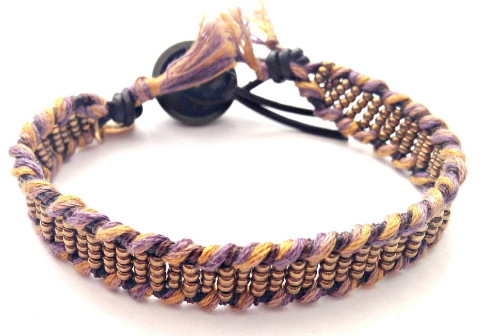 Wickelarmband – Miyukiperlen gemischt & Baumwolle