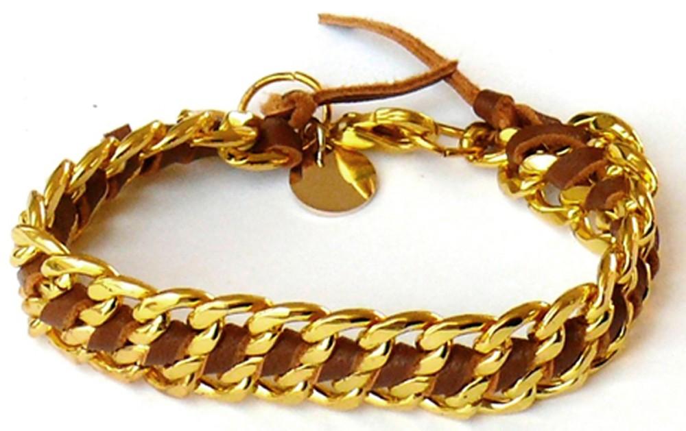 Kettenarmband – gold & cognac