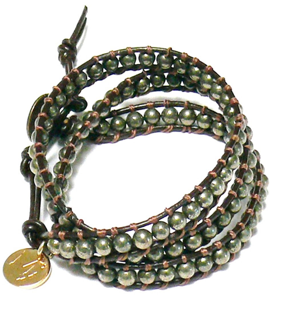 Wickelarmband – Leder & Pyrit2