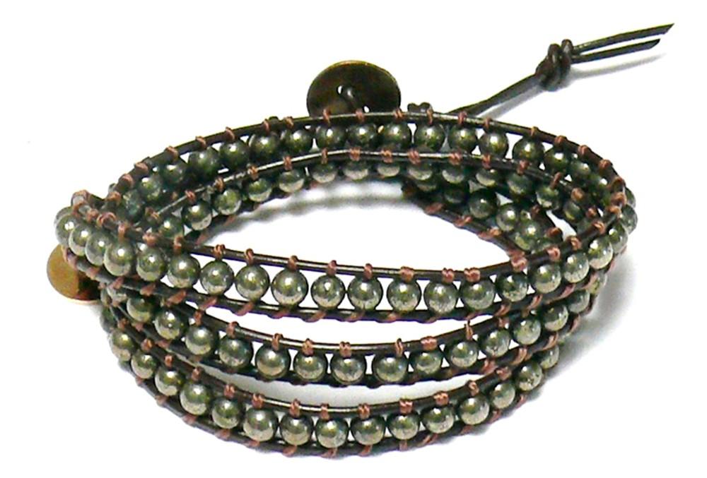 Wickelarmband – Leder & Pyrit