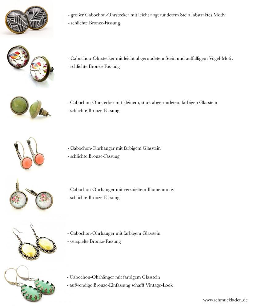 Cabochon-Ohrringe auf schmuckladen.de