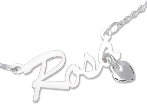 Namenskette in Silber mit Herz-Anhänger