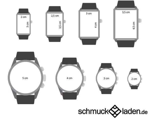 Uhrengrößen - Ermitteln Sie einfach, welche Uhrengröße zu Ihnen passt
