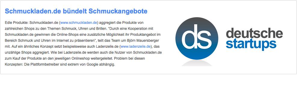 schmuckladen.de in der Presse der Deutschen Start Ups