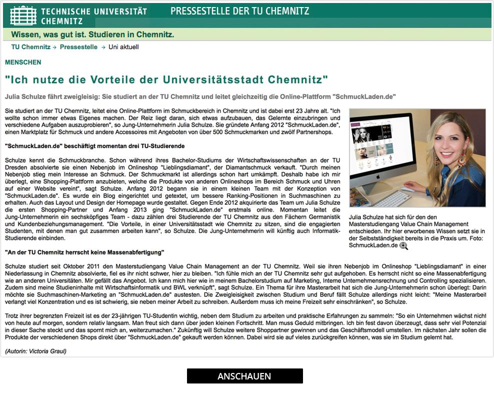 schmuckladen.de in der Presse der TU Chemnitz