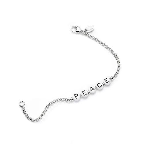 silbernes Namensarmband aus Perlen