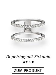 Doppelring mit Zirkonia