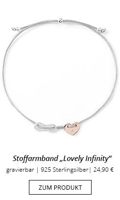 Herzarmband Infinity Stoff