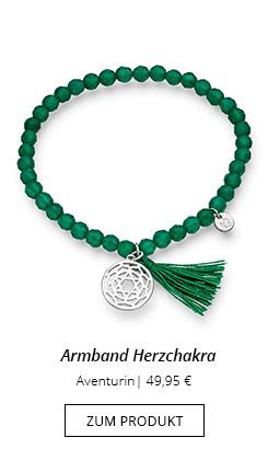 Edelstein Armband in Grün mit Anhänger Herzchakra