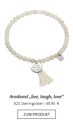 Mondstein Armband mit Anhänger live, laugh, love