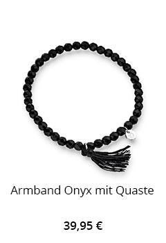 Perlenarmband mit Schwarzem Onyx und Quaste