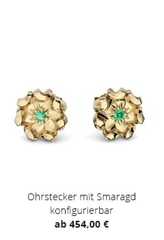 Blumenohrstecker mit Smaragd