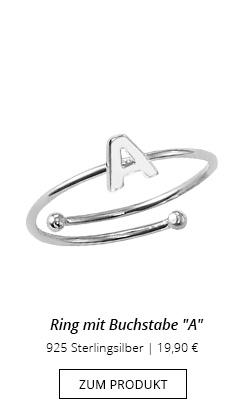 Buchstaben-Ring A-Material Silber