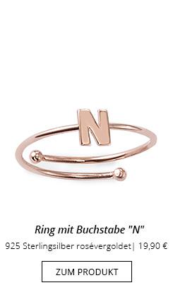 Buchstaben Ring N rosévergoldet