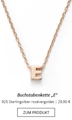 """Buchstabenkette rosevergoldet """"E"""""""