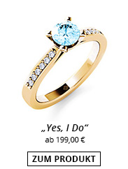 Goldring mit Stein in Aquamarin