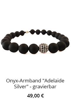 Onyx Armband mit Edelstahlperle