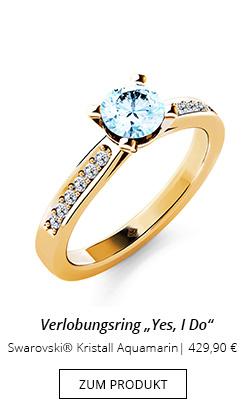Verlobungsring Swarovski Kristall Aquamarin