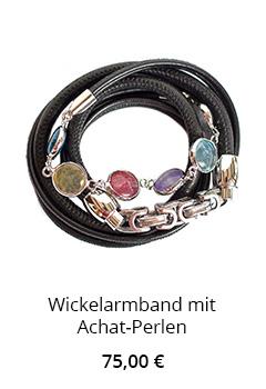 Wickelarmband Leder mit Achat Perlen