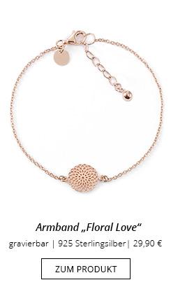 Armband Anhänger Blume rose