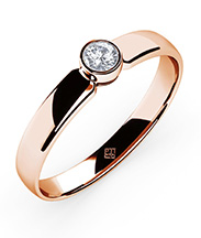 Schlichter Ring Simple Diamond rosé mit Steinbesatz