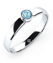 Ring Simple Diamond Swarovski Aquamarin