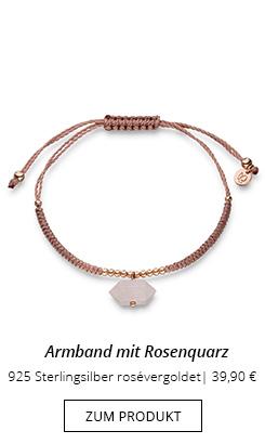 Armband mit Rosenquarz Anhänger und rose Perlen