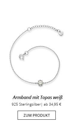 Armband Silber mit Anhänger Topas weiß