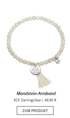 """Perlen Armband Mondstein """"Live, laugh, love""""-Anhänger"""