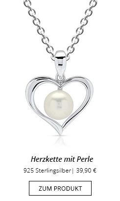 Herzkette mit Perle