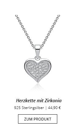 Silberkette mit Herzanhänger und Zirkonia