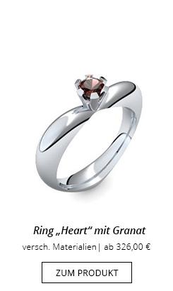 Ring Herzform mit Granat