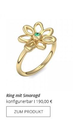 Blumenring mit Smaragd